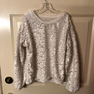 Girls Size 7/8 white sequin sweatshirt
